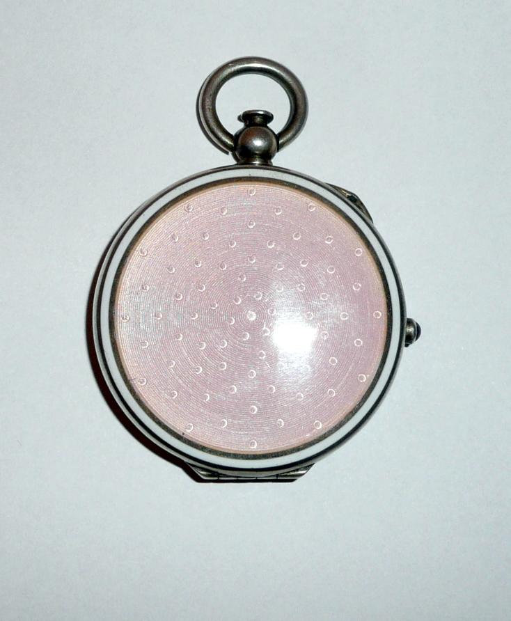 Ezüst art deco rózsaszín zománcdíszes pudrié/szelence