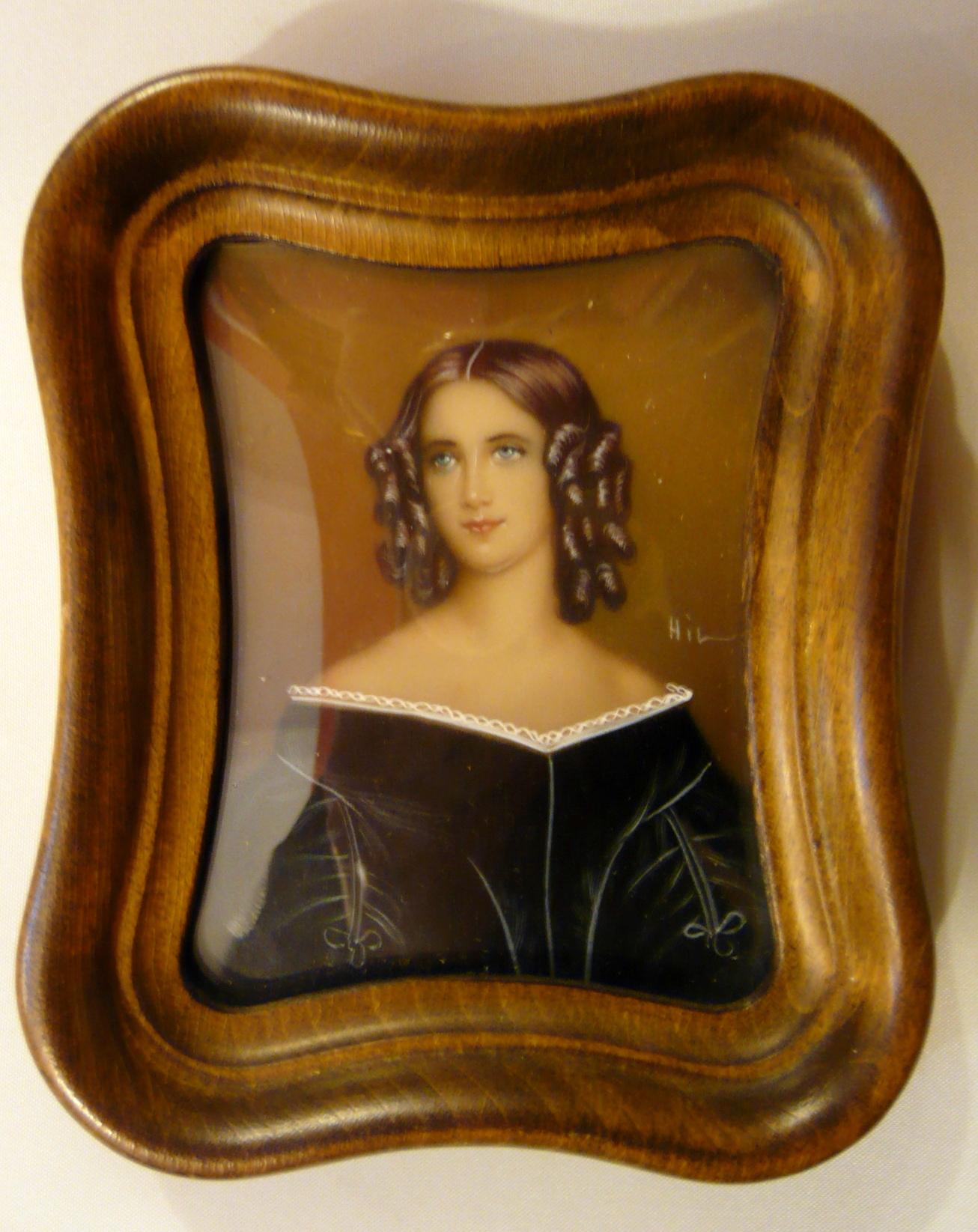 Biedermeier női arckép, miniatűr